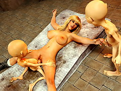picture #3 ::: Line of goblins behind a hot ass of a blonde 3D teen
