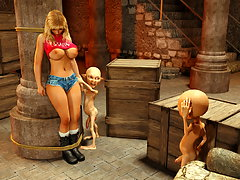 picture #1 ::: Gorgeous blond girl is forced to give herself to two evil little creatures