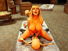 picture #4 ::: Gorgeous blond girl is forced to give herself to two evil little creatures