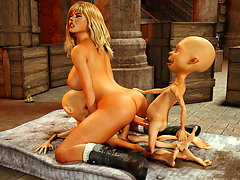 picture #4 ::: Brutal goblins fuck both holes of a saucy 3D teen