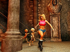 picture #1 ::: Horny 3D vixen gets ravaged by goblins with no mercy