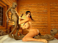 picture #1 ::: Obedient amazonian girl handles an evil 3D werewolf cock