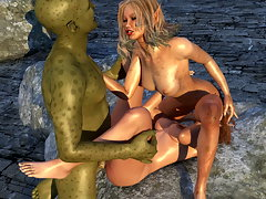 picture #3 ::: Obedient amazonian girl handles an evil 3D werewolf cock