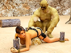 picture #1 ::: Lara Croft is securely tied up for 3D ogres to fuck hard
