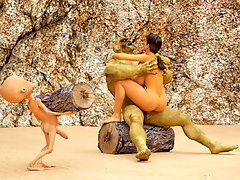 picture #2 ::: Lara Croft is securely tied up for 3D ogres to fuck hard