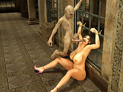 picture #3 ::: Prison banging with busty 3D slut and a nude guard