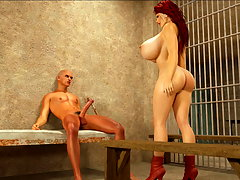 picture #4 ::: Prison banging with busty 3D slut and a nude guard