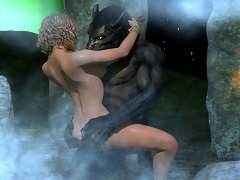 picture #4 ::: Curvy Amazon babe gobbles down a thick 3D orc dick