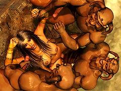 picture #5 ::: Provocative 3d chick slurps a massive monster dick