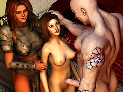 picture #1 ::: Lovely horny babes fuck with a pack of hairy 3d werewolves
