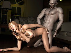 picture #2 ::: Lovely horny babes fuck with a pack of hairy 3d werewolves