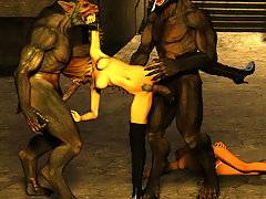 picture #4 ::: Lovely horny babes fuck with a pack of hairy 3d werewolves