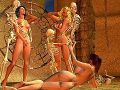 picture #1 ::: Army of evil skeletons pounding delicious busty gals