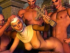 picture #3 ::: Desirable 3d cutie impaled on a slimy swamp beast's cock