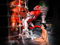 picture #5 ::: Petite girly gets her insides rearranged by raging 3d werewolf dick