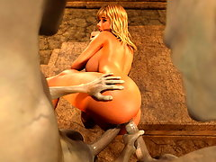 picture #1 ::: Terrible wanton monsters abuse a nasty blonde slut