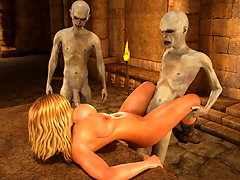 picture #2 ::: Terrible wanton monsters abuse a nasty blonde slut