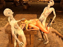 picture #4 ::: Terrible wanton monsters abuse a nasty blonde slut