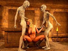 picture #2 ::: Elegant blonde hottie plowed by nasty undead vampires
