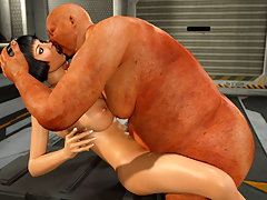 picture #1 ::: Repulsive 3d ogre drills a hot busty chick's moist cunt