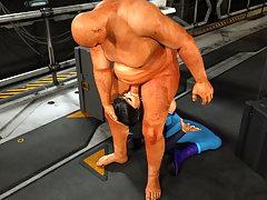 picture #1 ::: Repulsive 3d monster pounds an adorable hottie