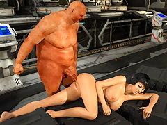 picture #2 ::: Repulsive 3d monster pounds an adorable hottie
