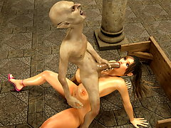 picture #4 ::: Imposing horny chick gets boned by foul monster in a church