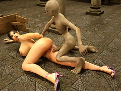 picture #1 ::: Lustful horny bimbo gags on an evil monster's cock