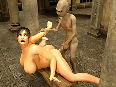 picture #2 ::: Lustful horny bimbo gags on an evil monster's cock