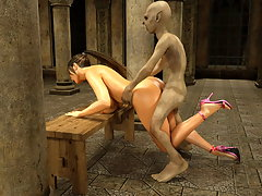 picture #1 ::: Provocative tender gal gets boned by a wanton monster