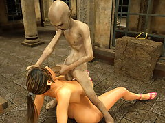 picture #3 ::: Attractive 3d chick endures sucking an evil creature's dick