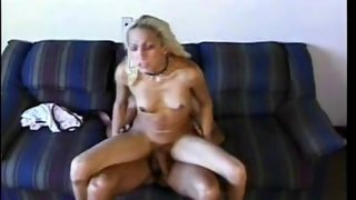 Tightest blonde tranny ever gets impaled on cock