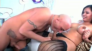 Fabulous little ladyboy gets blown by some guy