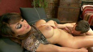 Desirable ebony tranny feeds her partner with hot jizz