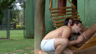 Dainty shemale fucks her lover outdoors