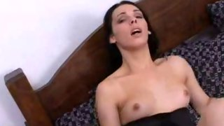 Pretty eyes tgirl on her knees giving the best head ever