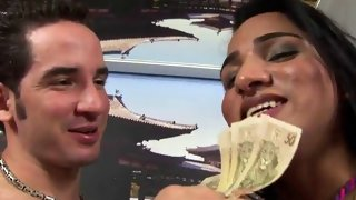 Luscious shemale babe gets pounded for cash