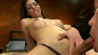 Exotic tranny jacks off when getting fucked