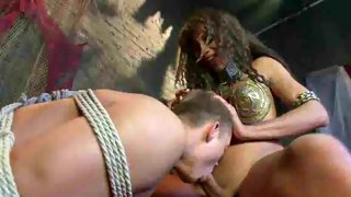Beautiful tgirl gets fucked by a bound male lover