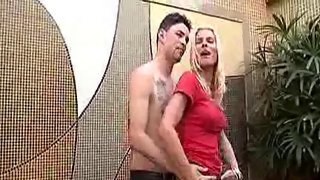 Special blonde tranny is sucking on a real big one