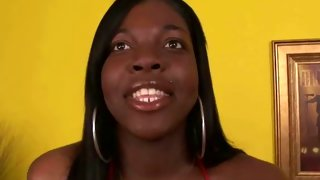 Amazing ebony tranny is working her fat cock