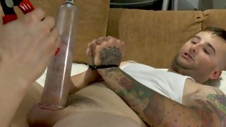Busty blonde tranny feeding her cum to a thirsty male lover
