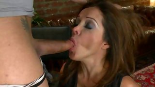 Sexy slave girl gets to suck off a tranny