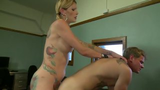 Fabulous inked up tgirl spills her seed on her mate's pecker