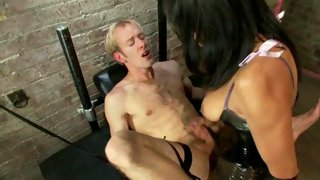 Horny mistress tranny enjoys in her new slave