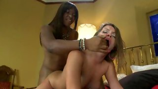 Gal licking tgirl's dick like it's chocolate syrup