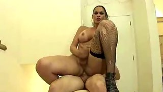 Vocal slutty tgirl getting plowed in doggy position