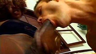 Ebony ladyboy loves sucking her boyfriend's nuts